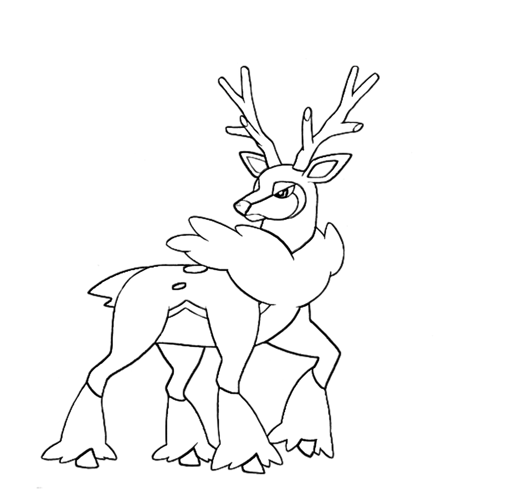pokemon sawsbuck winter coloring pages | Winter Sawsbuck Lineart by Skylight1989 on DeviantArt