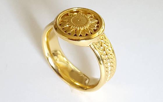 Sunflower Signet Ring by JeremyMallin