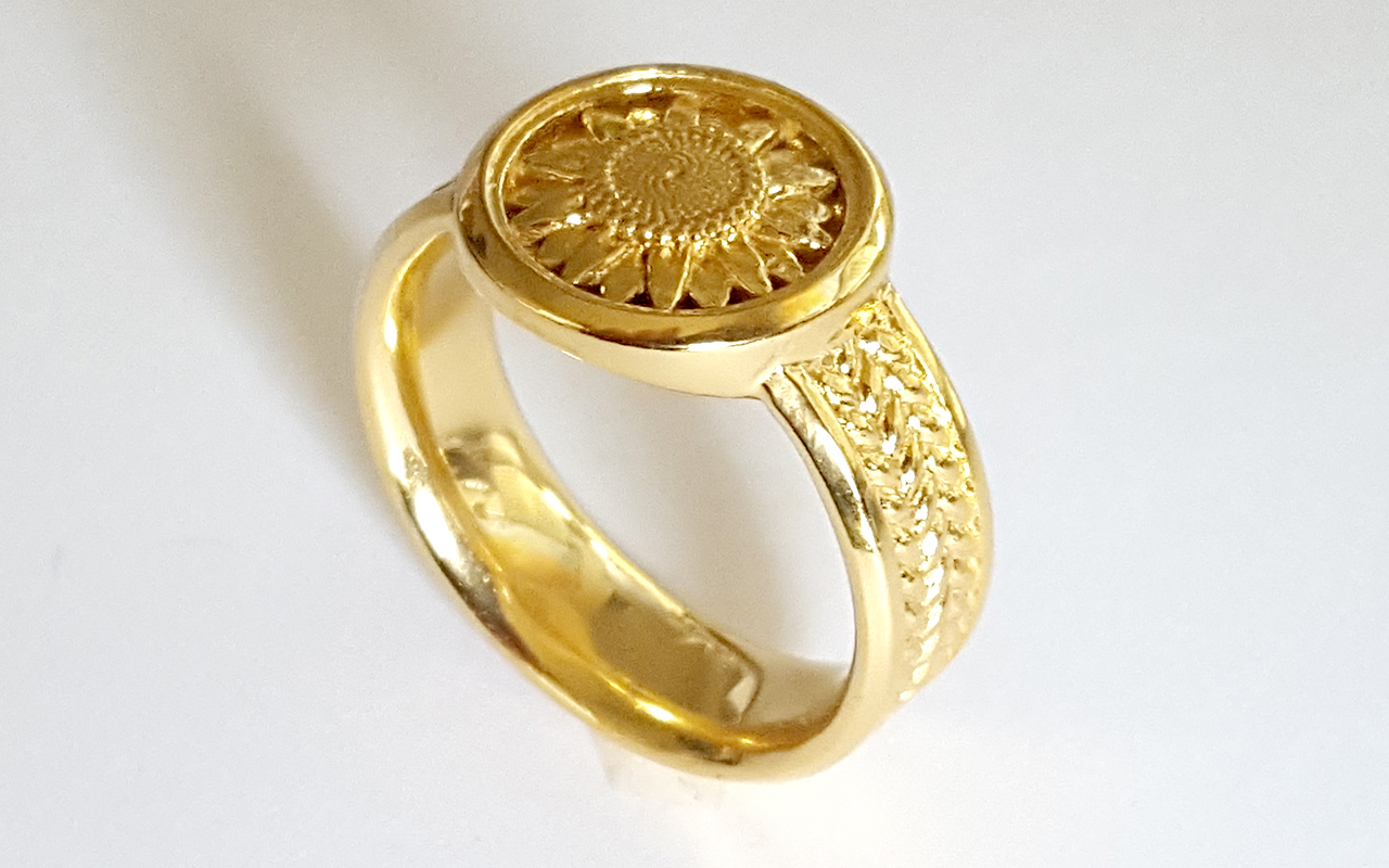 Sunflower Signet Ring by JeremyMallin