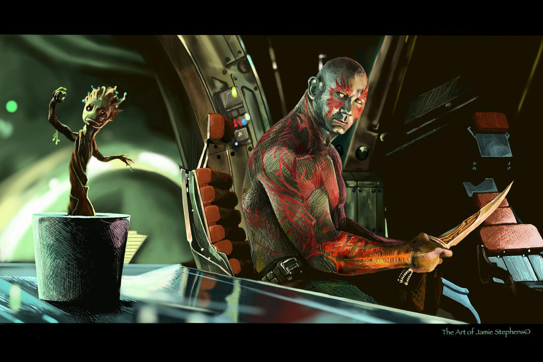 Drax and Baby Groot by Jamos2007