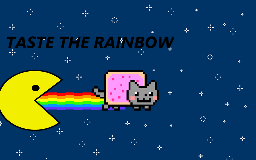 Nyan Cat And Waffle Cat Nyan Cat Taste The Rainbow by