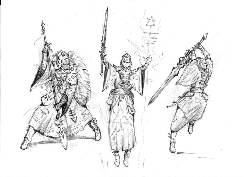 Sketchspread II - Eldar Warlocks by MasterAlighieri