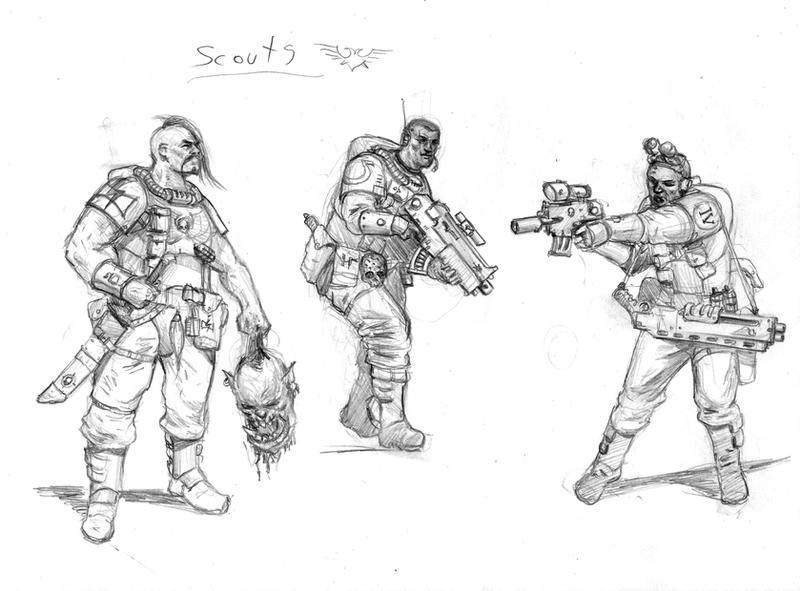 Sketch  III - Space Marine Scouts by MasterAlighieri