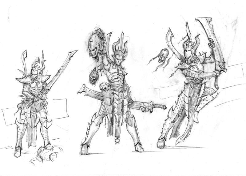 Sketch IV - Dark Eldar Incubi by MasterAlighieri