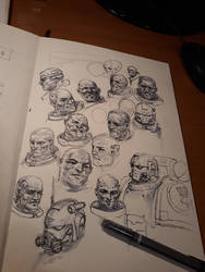 Space Marine portrait sketches