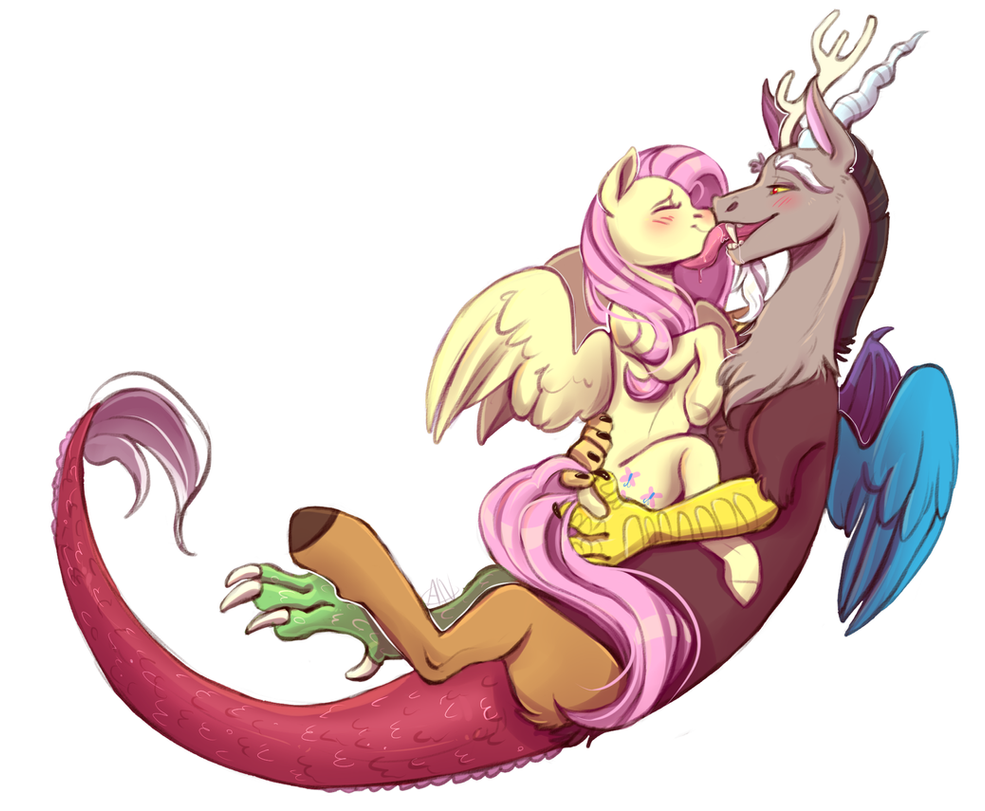 Fluttershy and Discord by 1AN1