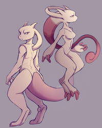 Mewtwo and Mega Mewtwo Y by 1AN1