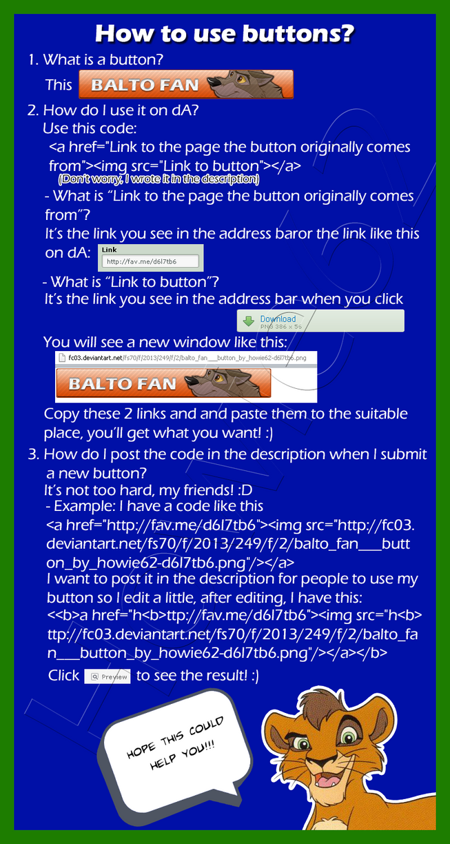 How to use buttons on dA by Howie62