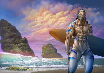 Beast-man goes surfing by Siua87