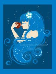 _Apple in deep  blue_