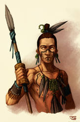 Warrior with spear by BalamTzibtah