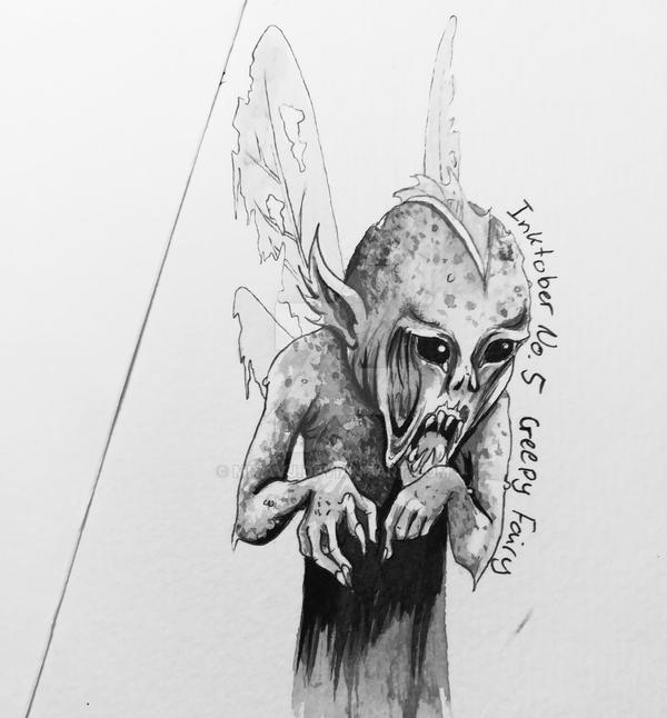 Inktober2017 No.5 Creepy Fairy by Miyavj