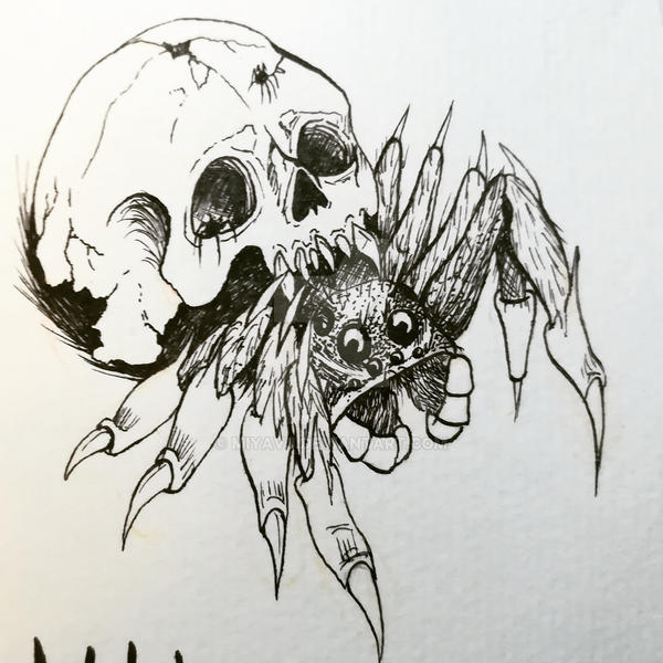 Inktober2017 No.19 Spider by Miyavj