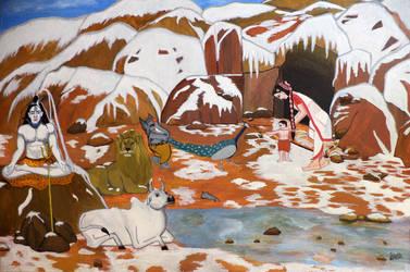 Shiva And His Family by Pratyasha