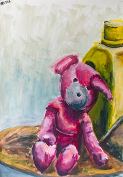 Pink Bear against Jerry Can