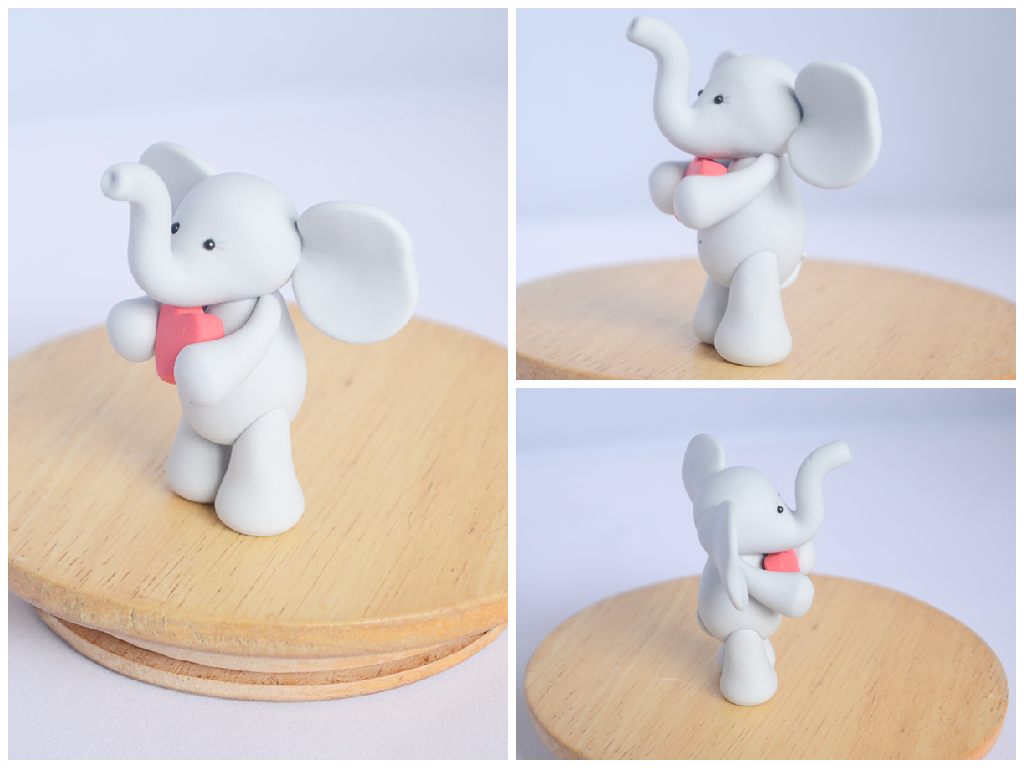 handmade polymer clay elephant valentines day by thelinnypig - Elephant Valentine