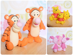 Handmade Polymer Clay Pooh Bear and Friends