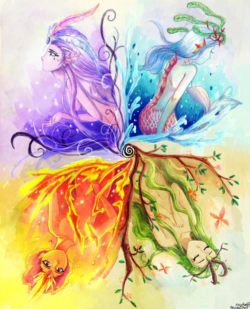 4 Elements Of Art : Quattuor elementum by aedjy on deviantart