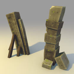 Low poly Broken Stone Gate (variation) by lithium-sound