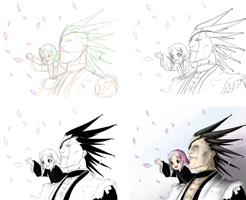 BLEACH Kenpachi And Yachiru Stepwise Drawing By 26STALKER86