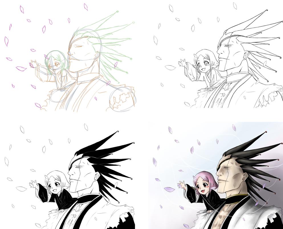BLEACH Kenpachi And Yachiru Stepwise Drawing By 26STALKER86