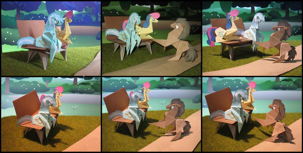 Lyra and Bonbon bench collage