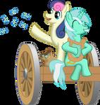 Lyra and Bon Bon wagon