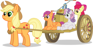 Applejack and Cutie Mark Crusaders on a cart