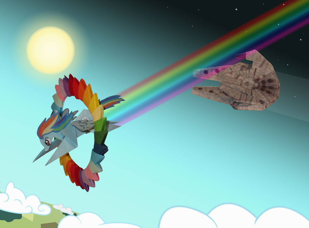 Rainbow Falcon origami - Tribute to ChrisTheS