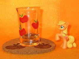 Applejack Cutie Mark shot glass and cork coaster by Malte279