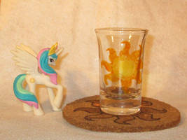 Celestia Cutie Mark shot glass and cork coaster by Malte279