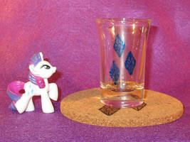 Rarity Cutie Mark shot glass and cork coaster by Malte279