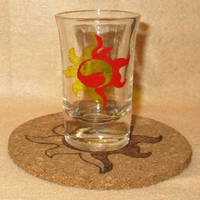 Sunset Shimmer Cutie Mark shot glass and cork coas by Malte279