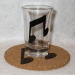 Vinyl Scratch Cutie Mark shot glass and cork coast