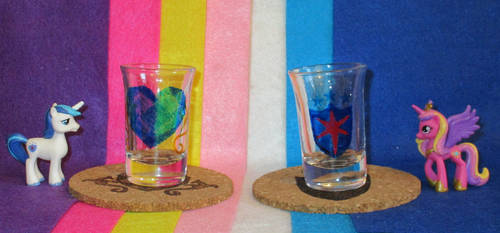 Cadance and Shining Armor Cutie Mark shot glasses  by Malte279