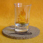 Spitfire Cutie Mark shot glass and cork coaster by Malte279