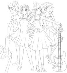 K-ON Lineart by zephi-san
