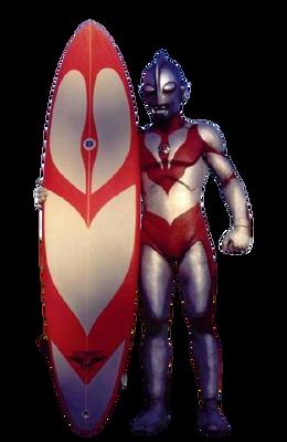Ultraman Powered with Surfboard render
