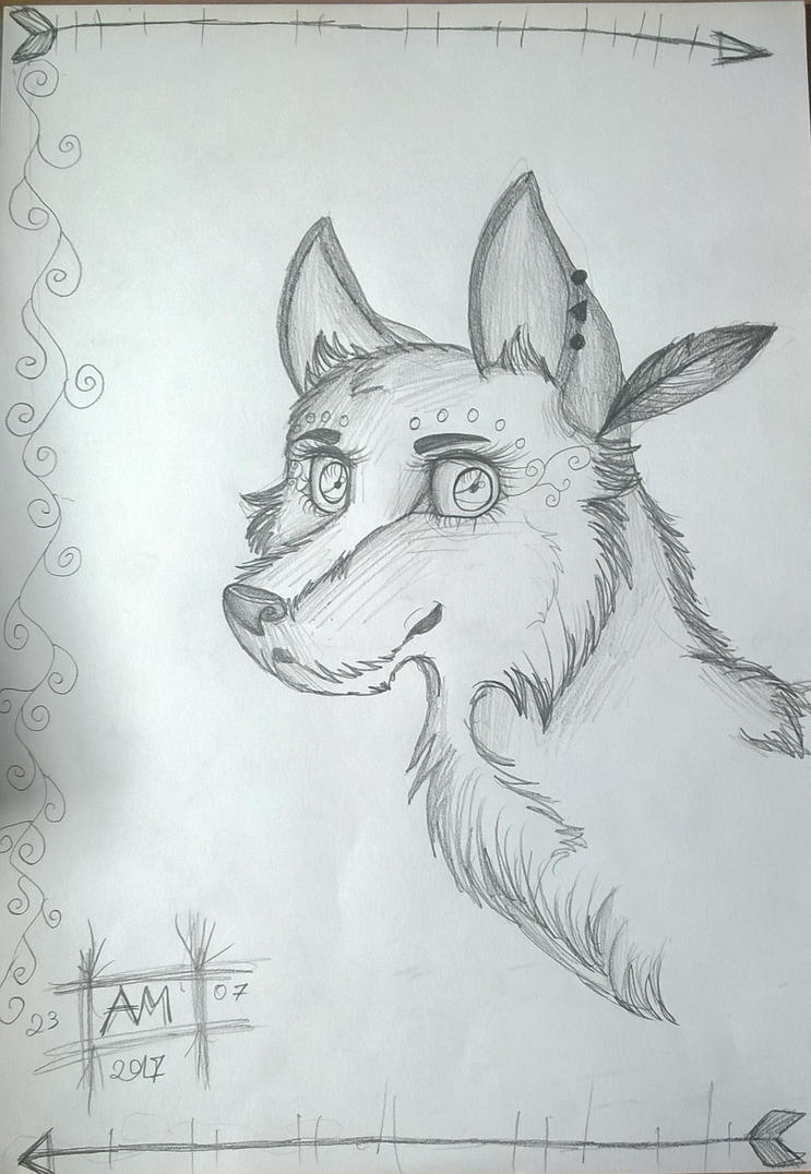 Tribal wolf by magicalnightstars