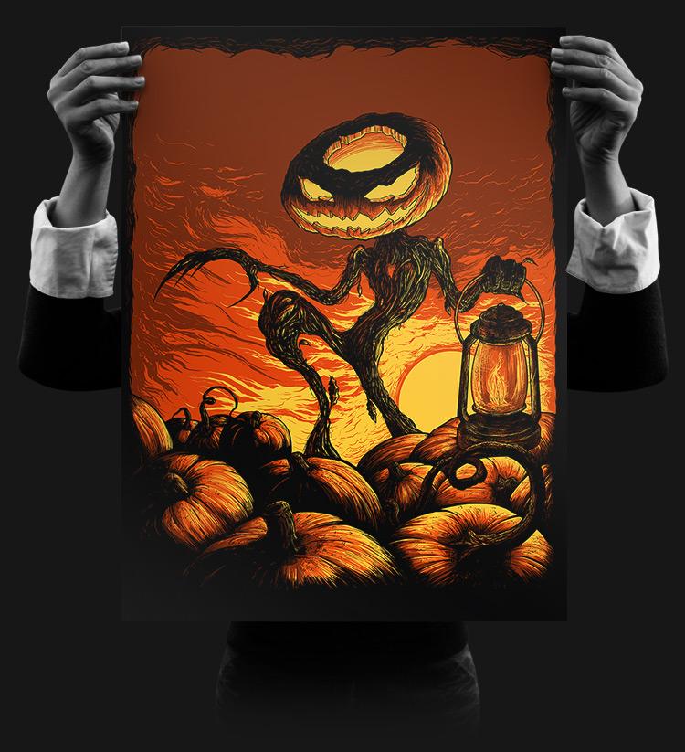Pumpkin King 18x24 Silk Screened Print by seventhfury