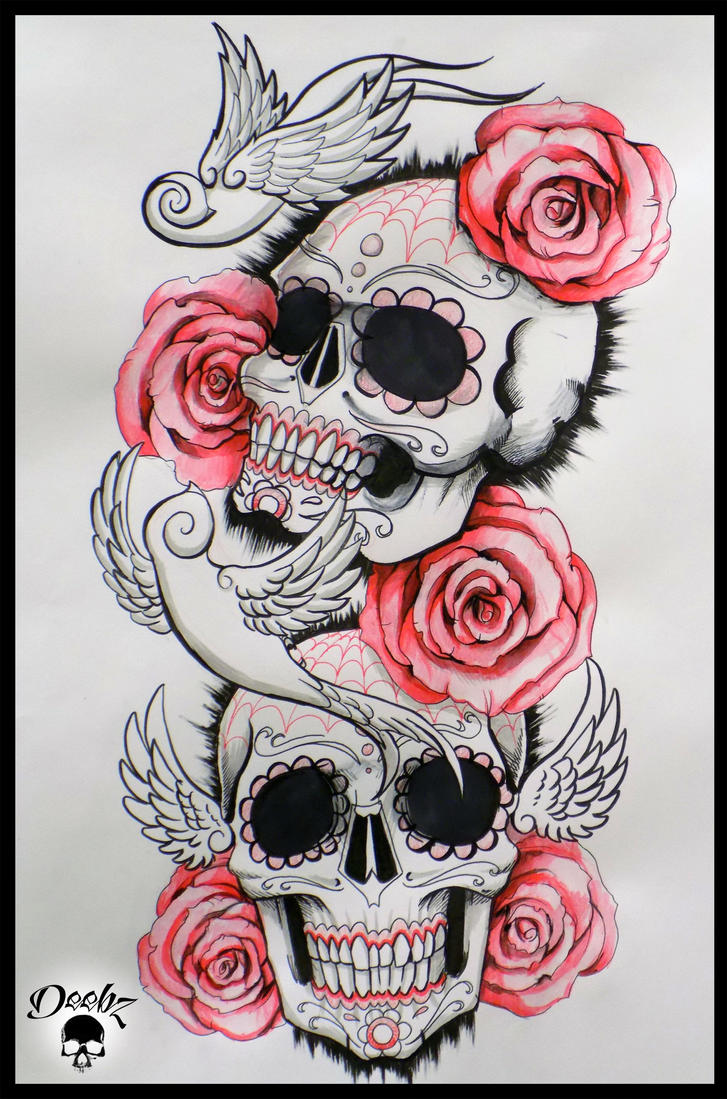 Candy Skull Sleeve Tattoo Designs