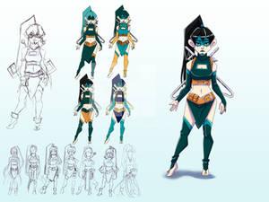 Blue Character Design Sheet