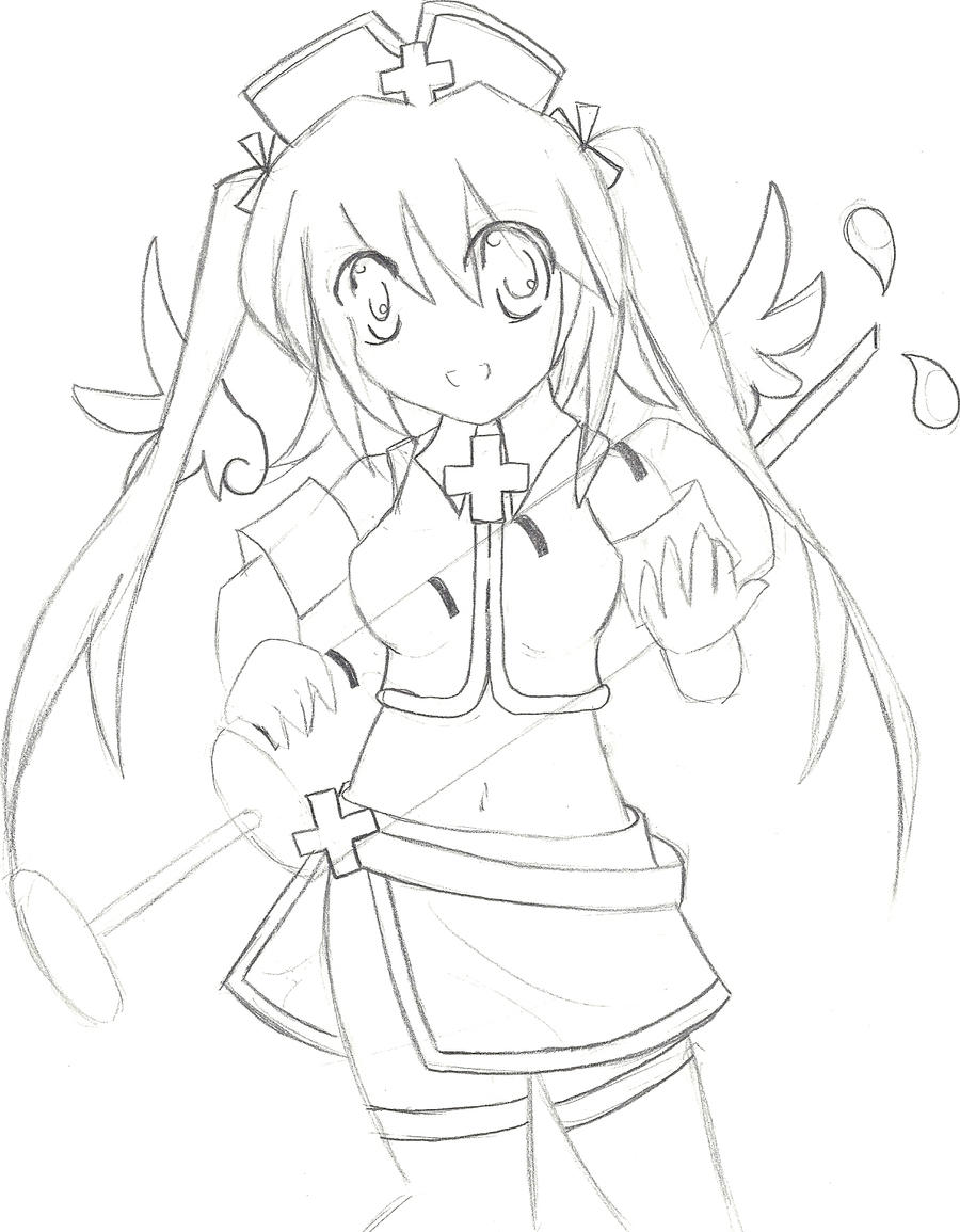 Line Drawing Nurse : Kawaii nurse asura line art by nekochan on deviantart