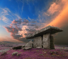 Lavender Dolmen Sunset by boldfrontiers