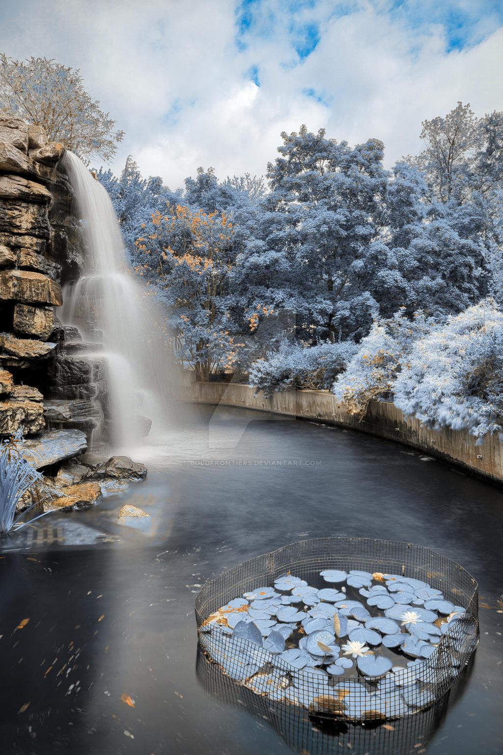 Zoo Waterfall II - Exclusive Winter Blue HDR by somadjinn
