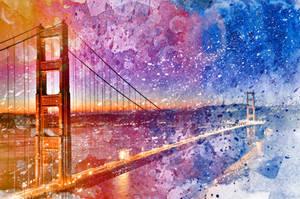 Golden Acrylic Gate Bridge by boldfrontiers