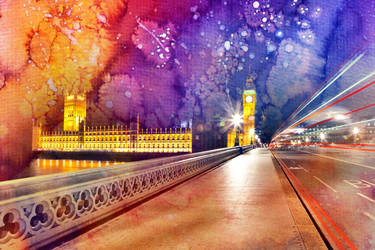 Vibrant Watercolor Lights of London by boldfrontiers