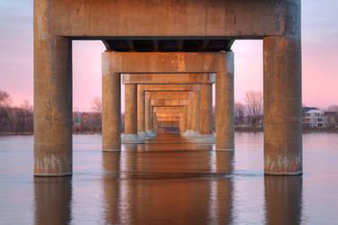 Twilight Bridge Pillars by boldfrontiers