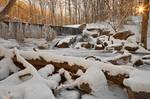 Winter Sunset Waterfall