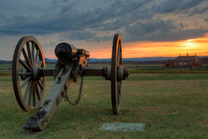 Gettysburg Cannon Sunset II by boldfrontiers